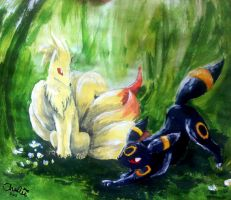 Ninetails And Umbreon by iWildBlood