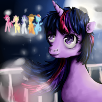 Twilight Sparkle Thinking about her friends by rachphil