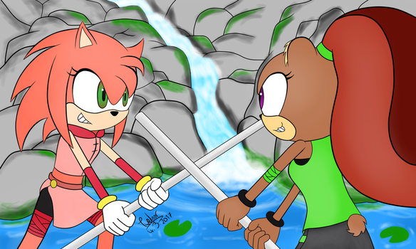Alley The Hedgehog Vs Quayla The Grizzly Bear by Twelnor