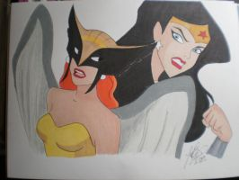 Wonderwoman and Hawkgirl by jaZzLIn3egurll