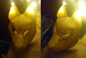 Kitsune mask WIP by goiku