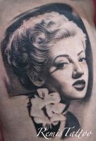 black and grey portrait tattoo 3 by Remistattoo