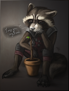 Rocket Raccoon and Groot by RainbowSpine