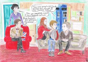 Tardis team come for tea by robyneskimo