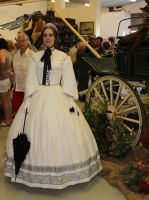 1850s White and Black Day Dres by Kathelyne