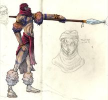 Spear Warrior Sketch Book Page by cheeny