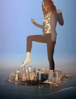 Giantess Kaitlin's Downtown Rampage by dochamps