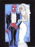Spidey Black Cat Wedding Color by MichaelPowellArt