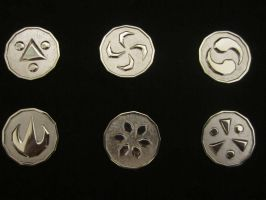 Sage Medallions, Zelda Ocarina of Time Set by Silverthink