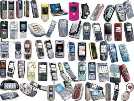Mobile phones png icons by amirajuli