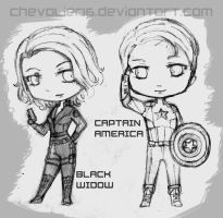Avengers Chibis WIP: BlackWidow and CaptainAmerica by chevalier16