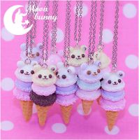 Ice-cream bears Necklace by CuteMoonbunny