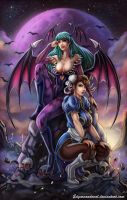 Miss Morrrigan and ChunLi Trinquette by EdgarSandoval
