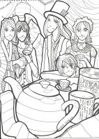 The Tea Party - Lineart by KassieOpia