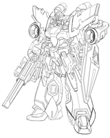 Gundam Line Art ::Onslaught:: by Zero-Sphinx