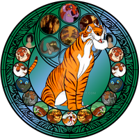 Shere Khan stained glass by jeorje90