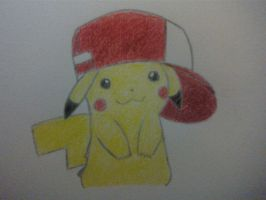 Pikachu wearing Ash's hat by roxas431