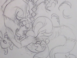 Discord, Fluttershy, and Angel Sketch by Cryssy-miu