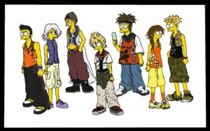 Twilight Town Kids- Simpsons by Sukkahousu