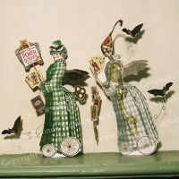 Skellie and Nellie, Halloween Card Sharps by rhondasoriginals