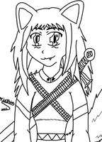 Army of Arkness Neko Lineart(Free use) by VictriaOfArgus
