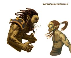 orc VS elf by burningflag
