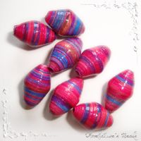 Fuchsia Purple paper beads by AmeliaLune