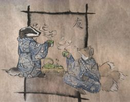 badger and kitsune tea by mudpaw