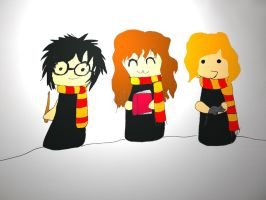 Harry, Ron and Hermione -Chibis by Banashee