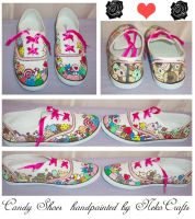 Candy hand painted shoes by neko-crafts