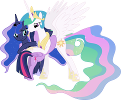 Princesses Celestia, Luna and Twilight Hugging by 90Sigma