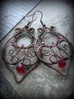 Wire Wrapped Filigree Copper Leaf Earrings by Lirimaer86