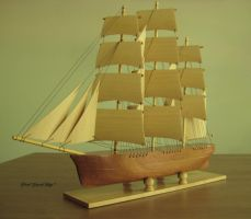 Hand Carved, Hand Made Mahogany Clipper Ship by mferraton