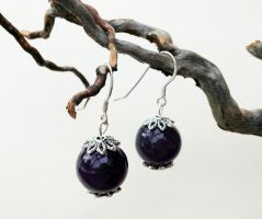 Round Amethyst Earrings by FaerieForgeDesign
