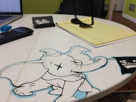 Dumbo Desk Drawing by finkgraphics