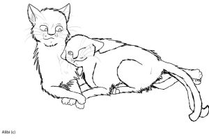 Free Cat Mates Lineart by Alibi-cat