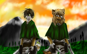 Two hunters - Collab with Pipilia by Aguawolf