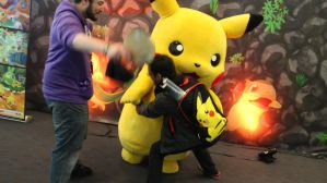 Nova and Sly are beating up pikachu what by ShadowPeep