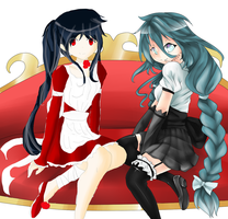:Collab: Yuki and Kuroki in Maid Costumes by RedFootsteps