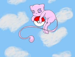 Mew in the clouds by RayneHime