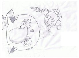 Meta Knight killing Jigglypuff by MarillMatey