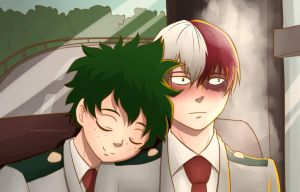 [Tododeku] Asleep on the Bus by whymeiy