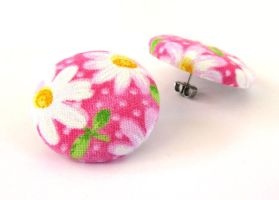 Large pink post earrings stud white green flower by KooKooCraft