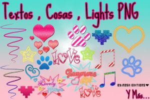 Cosas , textos y Lights PNG by RosiiEditions
