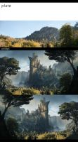 Ancient walled kingdom matte painting concept by DAAZEDART