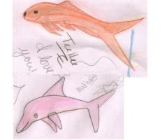 Goldfish and Pink Dolphin by herestofakefriends