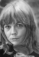 Pencil portrait of Katy Manning (Jo Grant) by LateStarter63