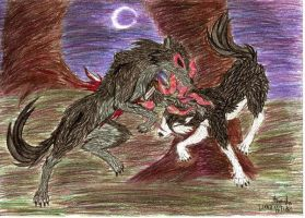 repost :Kaien and Rukia wolves by Keto-Schneider