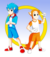 Humanoid Sonic and Tails by QuesoGr7