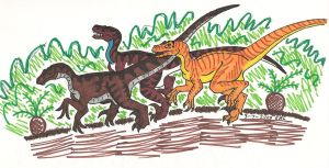 A trio of Velociraptors by sillyseaspirit